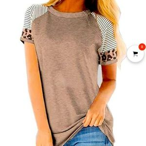 Knit tee tan and leopard print
